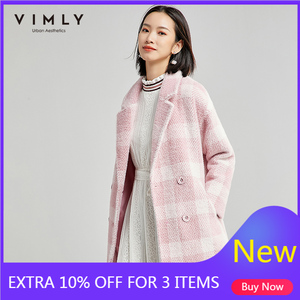 Vimly Women Plaid Woolen Coat Fashion Turn Down Collar Double Breasted Pockets Elegant Ladies Thick Wool Blend Outwear 30111(China)