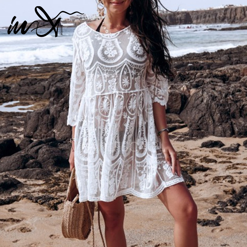 In-X Sexy Transparent Mesh Beach Dress Women White Lace Swimsuit Female Cover Ups Female Hollow Out Swimwear Cover Up Beach Wear