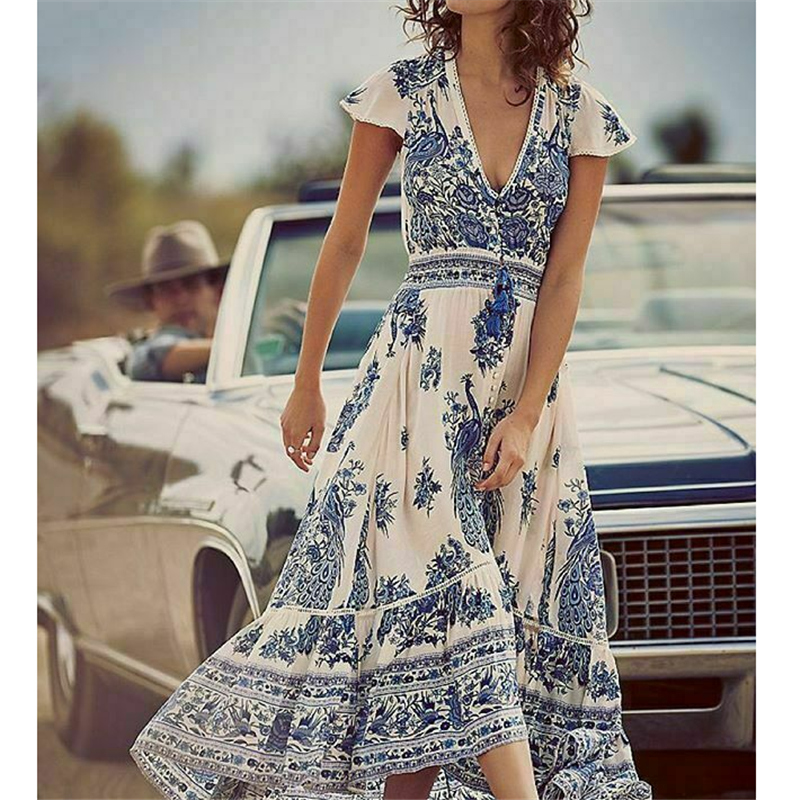 Summer Women Floral Printed Vestidos Fashion Boho Dress 2019 New Vintage Floral Casual Loose Party Beach Long Sexy Dress