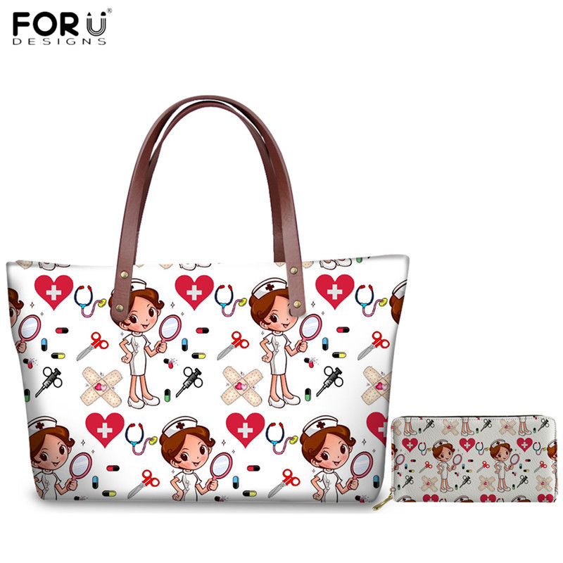 FORUDESIGNS Casual Women Tote Bags Nurse Medical Doctor Pattern Shoulder Bag For Ladies Girls Handbags Set With Clutch Wallets