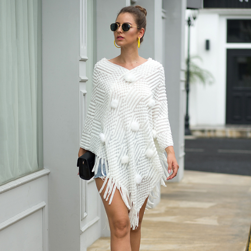 Women Sweater Cloak V Neck Knitted Streetwear Long Sleeve Office Tassel Sweaters Loose Autumn Womens To