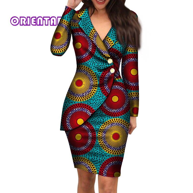 Vestidos africanos de otoño para mujer moda Oficina estilo cuello en V manga larga vestido Midi de algodón ropa de impresión africana
