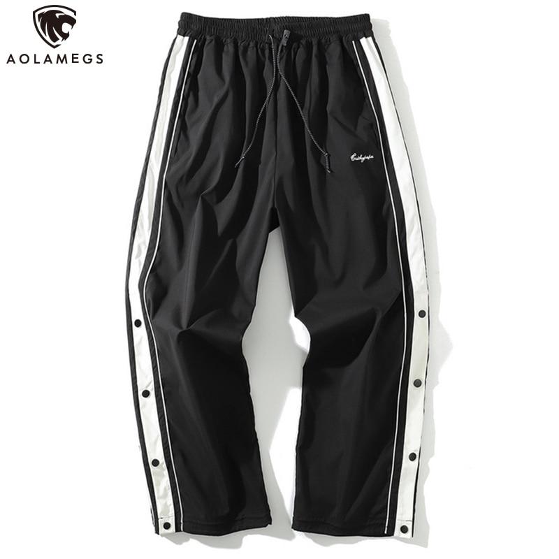 Aolamegs Men Pants Side Stripe Button Sweatpants Drawstring Comfortable All-match Casual High Street Sport Style Male Streetwear