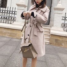 MISHOW 2019 autumn winter woolen coat causal women turndown collar Single-breasted with belt thick coat MX18D9657(China)