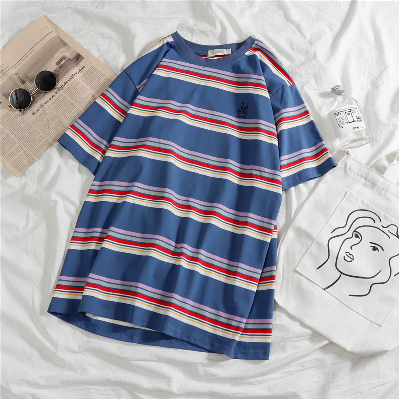 Summer Hot Sale Stripe Mens T Shirts Casual Hip Hop Short Sleeve Hipster Bottoming Clothes Funny Blue White Unisex Vintage Top