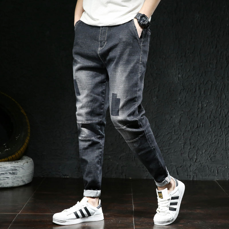 New Style Four Seasons Large Size Japanese Style Jeans Men's Fat Brother Trend Patch Elasticity Plus-sized Loose-Fit Harem Jeans