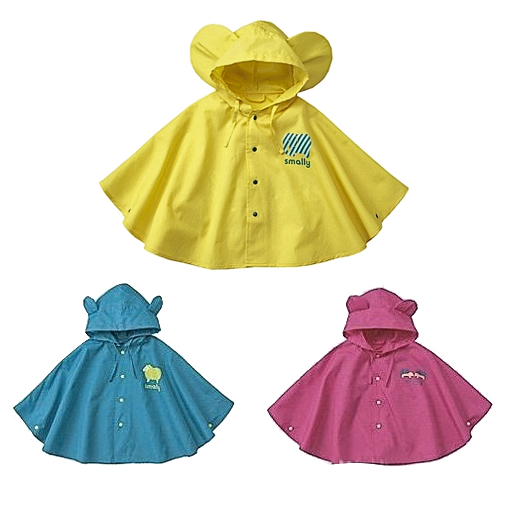 Children One Size Kids Poncho Vinyl Hooded Waterproof