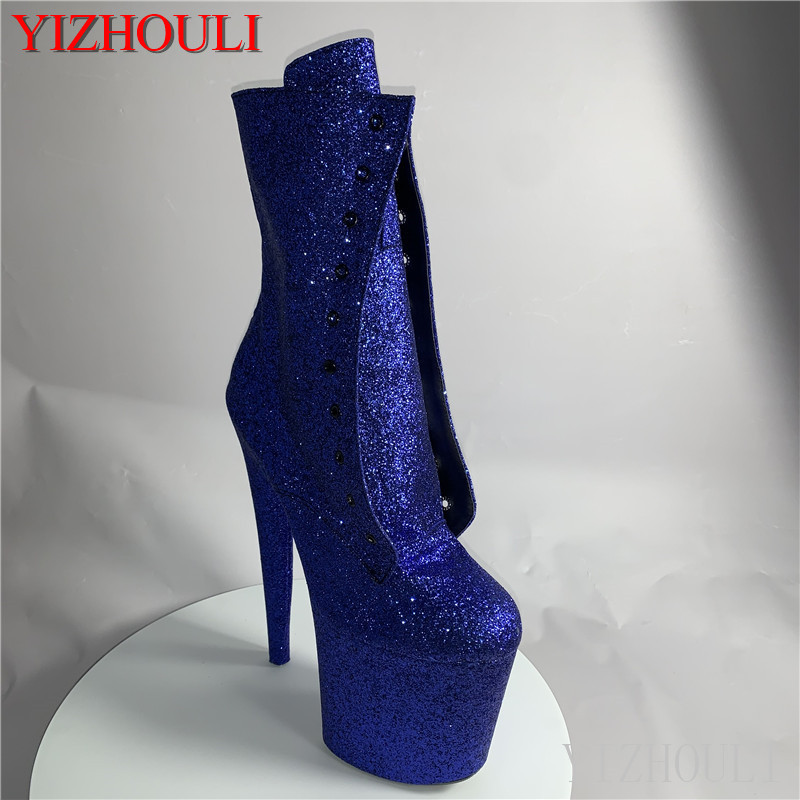 Sexy knight female 8-inch high heel sequined material female boots 20cm custom-made in a variety of color pole dancing ankle boo