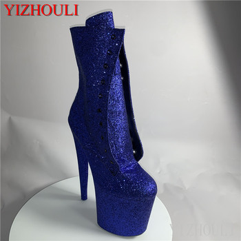 Sexy knight shoes 8 inches high heel sparkles material 20 cm women's shoes custom a variety of color pole ankle boots image