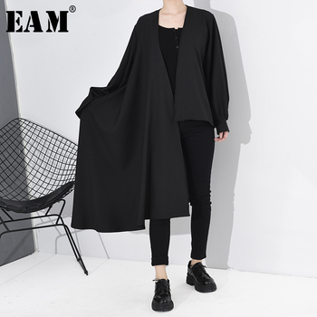 [EAM] Women Black Asymmetrical Big Size Trench New V-collar Long Sleeve Loose Fit Windbreaker Fashion Tide Spring 2020 A556XL