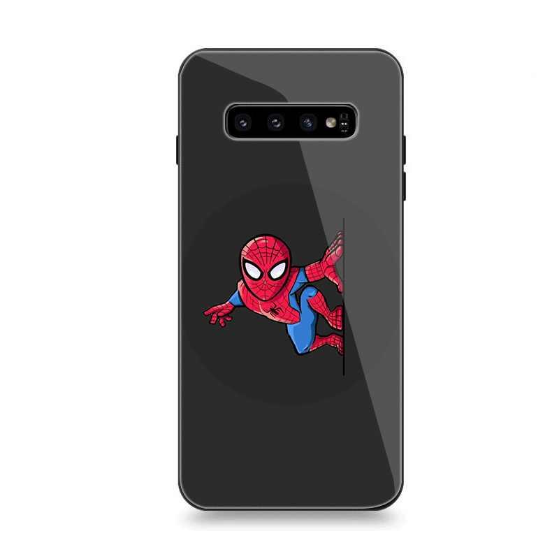 جراب هاتف الزجاج لسامسونج A10 A20 A30 A40 A50 A60 A70 S7 حافة S8 S9 S10 زائد غطاء الأعجوبة مضحك يونيكورن Deadpool