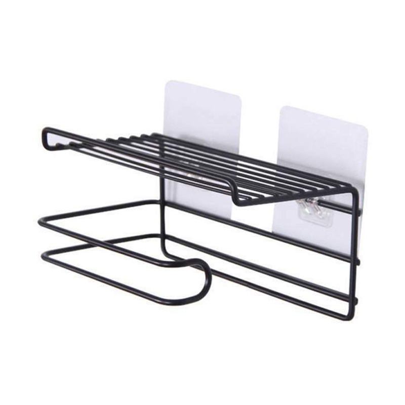 Bathroom Towels Storage Rack Makeup Cosmetic Storage Shelf Ir On Toilet Roll Paper Holder Kitchen Tools Organizer Black