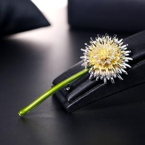 Fashion Enamel Dandelion Flower Brooches Plants Brooch Lapel Pins For Women Men's Suit Collar Clip Weddings Gifts