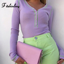 Fitshinling Buttons Up Autumn Winter Bodysuit Women Clothing Long Sleeve Slim Sexy Body Jumpsuits Skinny Fashion Bodysuits 2019
