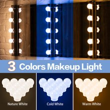 Espejo de tocador con USB, 3 colores, estilo Hollywood, decoración de pared interior, lámparas de 12V, Interruptor táctil para luz LED de belleza