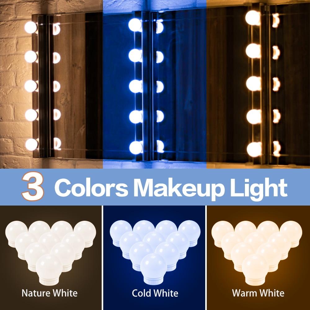 3 kolory USB lustro kosmetyczne światło w stylu Hollywood wystrój wnętrz kinkiety 12V możliwość przyciemniania makijaż włącznik dotykowy światła LED Beauty Lamp