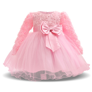 Sweet Pink Newborn Baby Girl Flower Wedding Dress Fancy 1st 2nd Birthday Outfits Infant Party Dresses For Girl Kids Tutu Clothes(China)