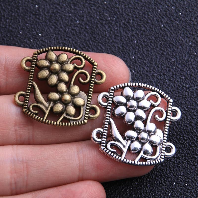 6pcs 28*29mm Retro Two Color Zinc Alloy Hollow Flower Pendants Connectors Linker For DIY Charm Jewelry Accessorie