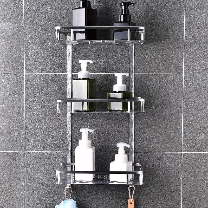 Bathroom Shelf Organizer Space Aluminum Kitchen Khelf Storage No Punching Shower Wall Shelves Caddy Waterproof Shampoo Holder