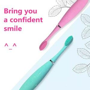 Электрическая зубная щетка, перезаряжаемая USB, силиконовая, зубная щетка, водонепроницаемая, Глубокая очистка, пищевая Чистка, отбеливание ...