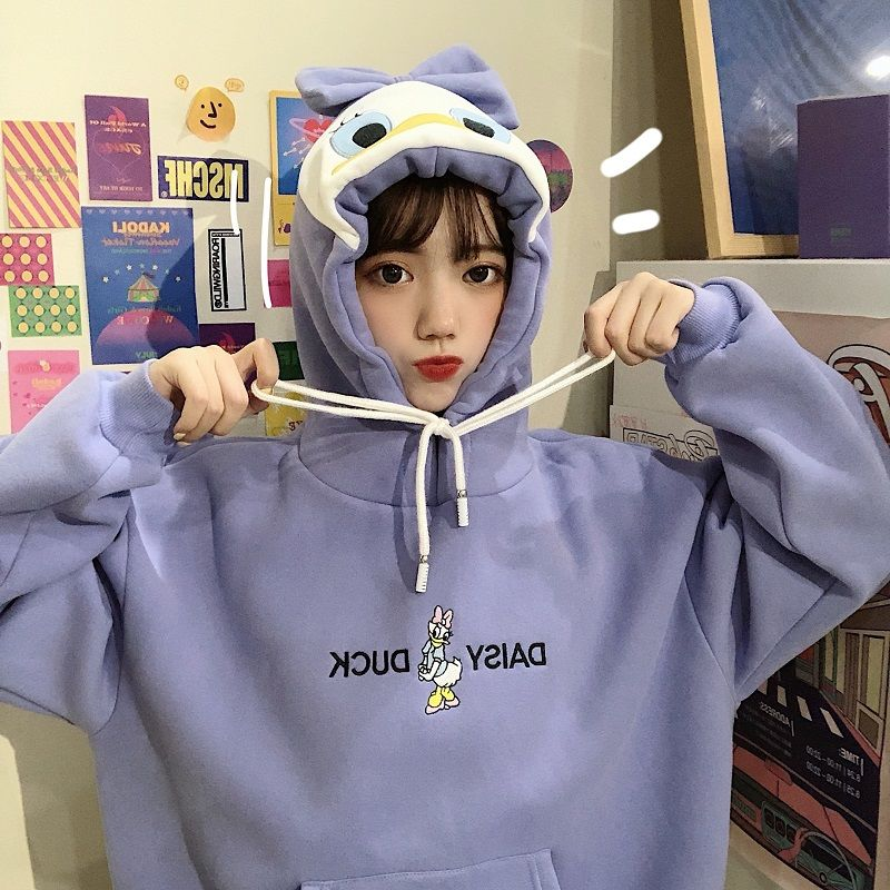 Hoodies Patchwork Winter Cute Harajuku Kawaii Sweatshirt Women Oversize Hooded Pullover Daisy Duck Tops Tracksuit Sudadera New