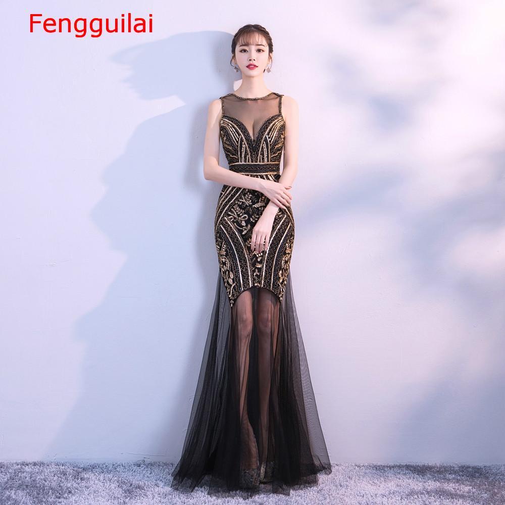 Lantejoulas beading vestidos sereia longo formal vestido de festa 2020 novo estilo - 2
