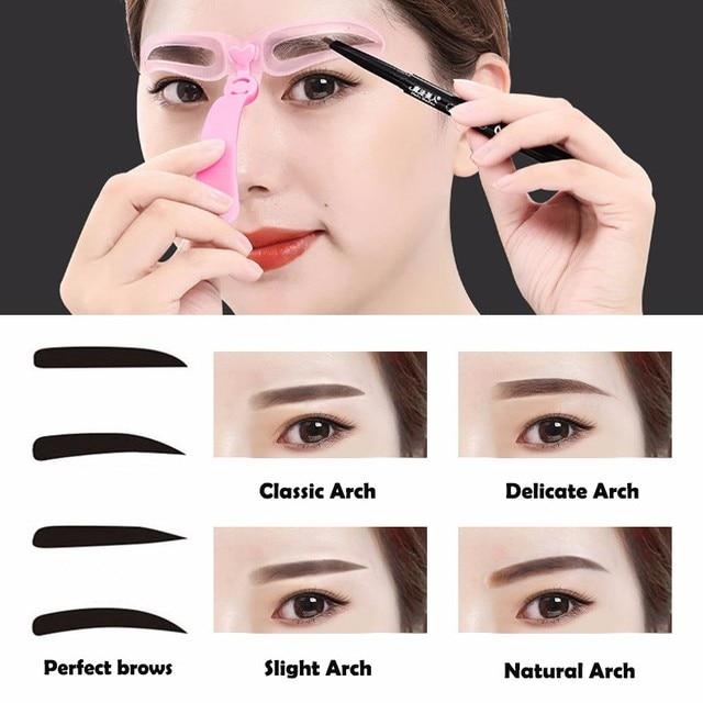 Hot Sale 4 Pcs/set Reusable Eyebrow Model Template Helper Eyebrow Defining Stencils Kit Grooming Card Makeup Tools TSLM1 1