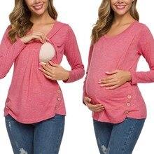 Топ для кормящих женщин с длинным рукавом, футболка для грудного вскармливания, зимняя туника на пуговицах, элегантная одежда для беременных, футболка embarazada, 19Aug