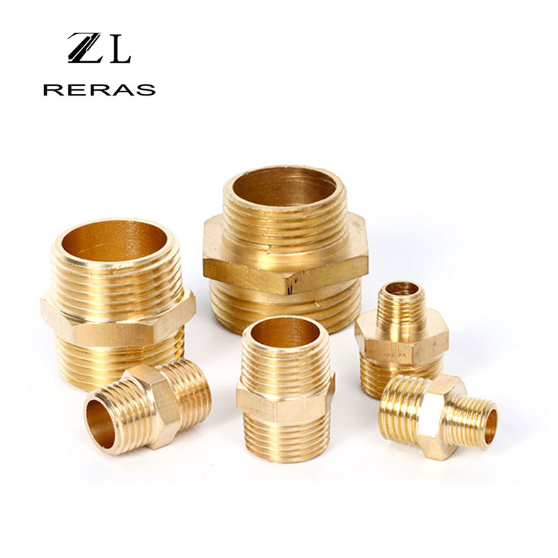 Brass Pipe Hex Nipple Fitting Coupler Connector  BSP Male Thread Fuel Water Gas Oil 1/8