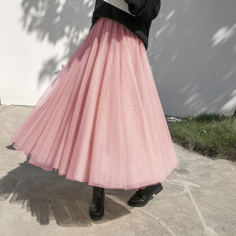 Gauze Skirt Autumn & Winter Yarn Mesh Dress With Sweater 2019 New Style High-waisted Fairy Thick Mid-length Pleated Skirt