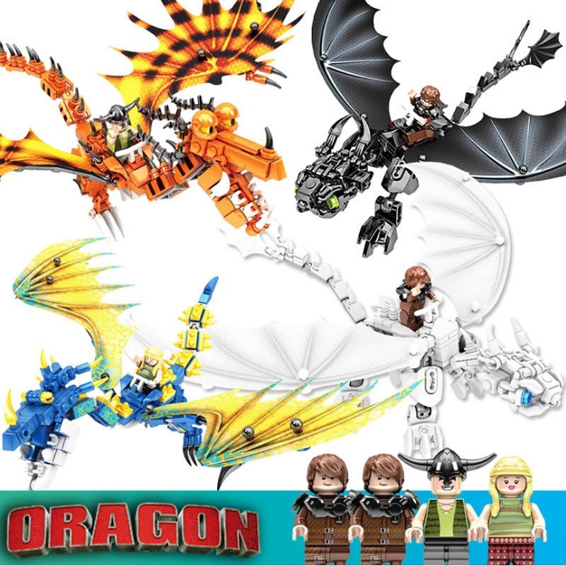 4pcs/lot How To Train Your Dragon 3 Legoinglys Toothless Night Fury Light Fury Dragon Building Blocks Brick Toys For Children