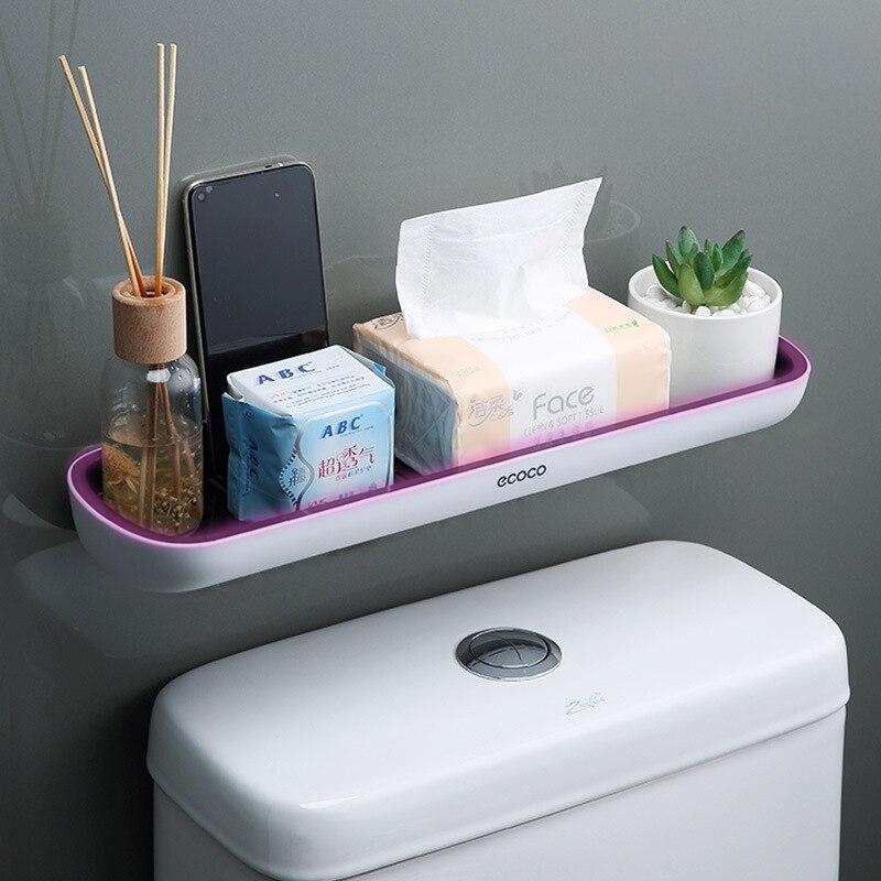 Wall-mounted Bathroom Shelf Toilet Storage Rack For Kitchen Storage Bath Organizer Household Bathroom Accessories Without Drill
