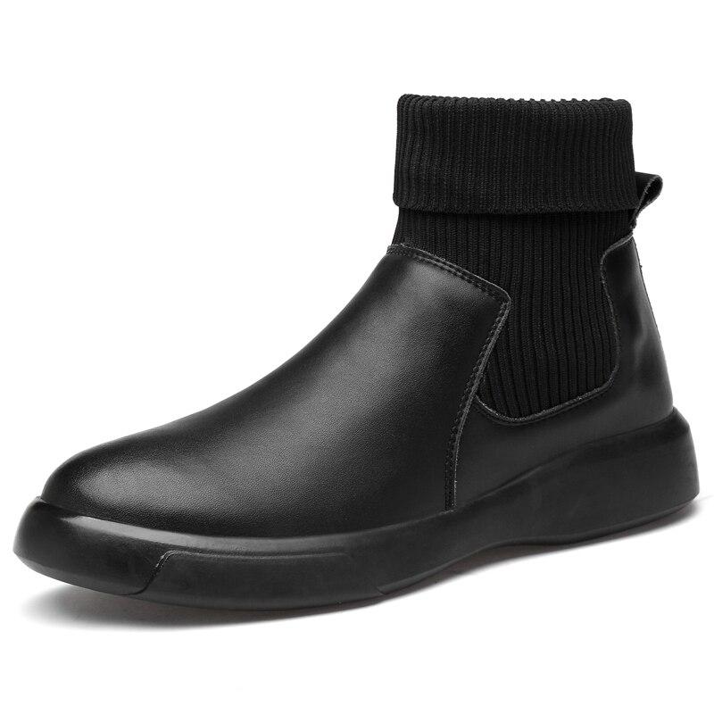 Chaussette haute hommes bottines noir hiver homme plat marche cuir souple baskets grande taille extérieur mâle chaussures d'entraînement