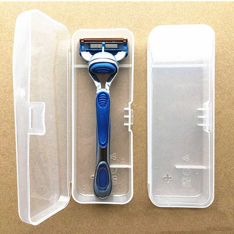المحمولة السفر الرجال الحلاقة ماكينة حلاقة حامل الحاويات ماكينة حلاقة صندوق شفاف البلاستيك شفرات حلاقة صندوق تخزين