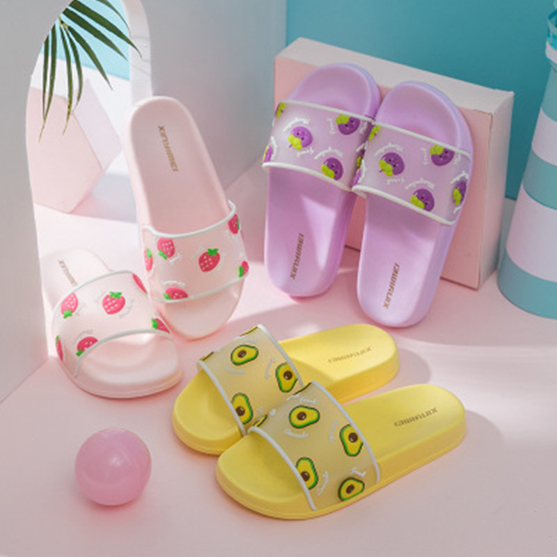 2020 Kawaii Avocado Slippers Summer Fruit Baby Shoes Girls Boys Printed Strawberry Pineapple Slippers Baby Household Shoes