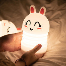 Rabbit Night Light for Children Bedroom Decorative Night Lamp USB LED Silicone Pat Sensor Kids Baby Sleeping Bedside Lamp Toys novelty lamp usb charging night light touch sensor silicone pat lamp cartoon led bedside atmosphere nightlight for christmas