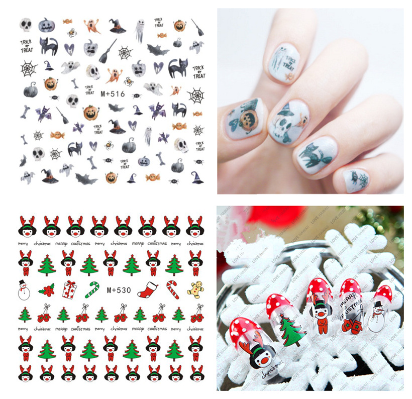 M + 513-537 Japanese Korean New Style Manicure Stickers Halloween Nail Sticker Christmas Manicure Flower Stickers Nail Sticker
