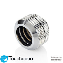 "2 uds Bitspower Touchaqua junta tórica doble G1/4 ""Ajuste de compresión manual para tubo duro OD14MM negro, plata(China)"