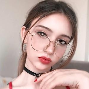 2020 New fashion simple unisex round Plain glasses for men women Metal frame glasses for wedding party eyeglasses Spring hinge