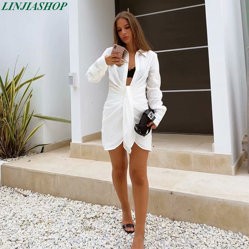 Special interest design mini dress summer long sleeves women irregularity pleated vocation style sexy loose white shirtdress