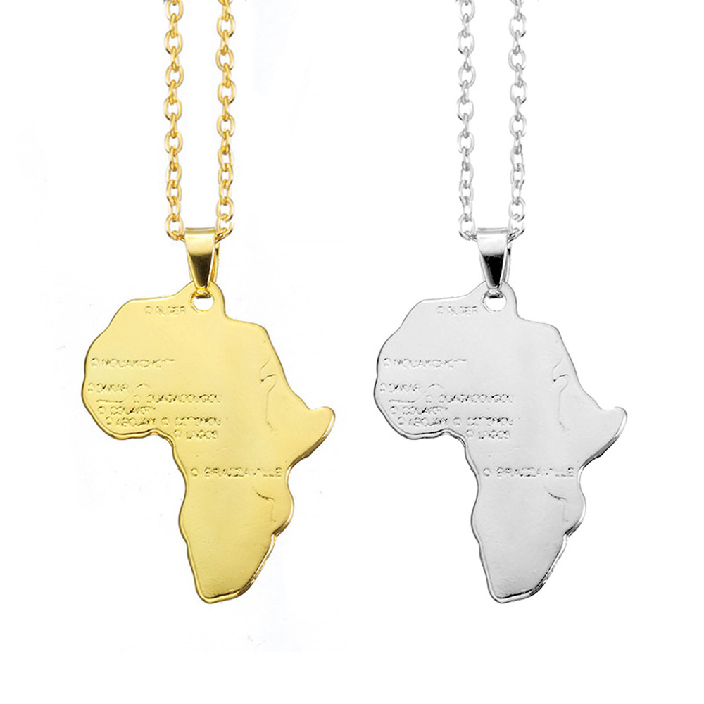 Fashion Hip-hop Style Personality Statement Africa Map Pendant Necklace Collar Jewelry Map Necklace for Women Men Jewelry Gift