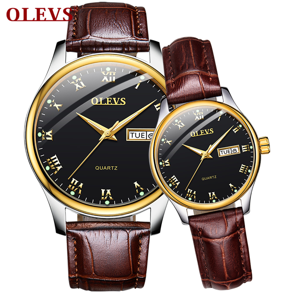 Fashion Casual Couple Watches Sport Leather Band Men Watch Quartz Business Calendar Date Week Waterproof Luminous Wristwatch