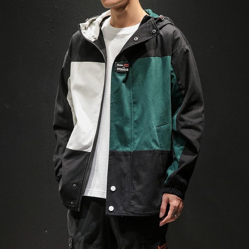 Designer Patchwork Hooded Jacket for Men 2020 Autumn Fashion Clothing Plus Size Hiking Outerwear Harajuku Streetwear Windbreaker 3