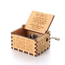 Handmade Wooden Engraved Hand Crank Music Box Birthday Christmas Gift for Kids Friends