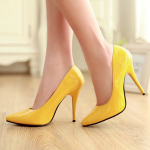 Image 2 - Zawsthia Patent Pu Lederen Vrouw Dunne Hoge Hakken Kleurrijke Geel Groen Stiletto Office Lady Pumps Schoenen Big Size 46 47 48