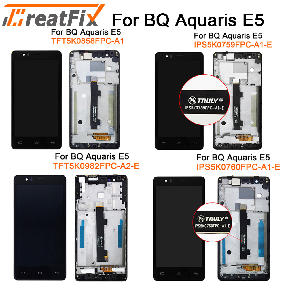 For BQ Aquaris E5s E5 4g LCD Display Screen Touch Screen Digitizer Full Assembly 100% Tested For E5 Hd E5 Fhd Lcd With Frame