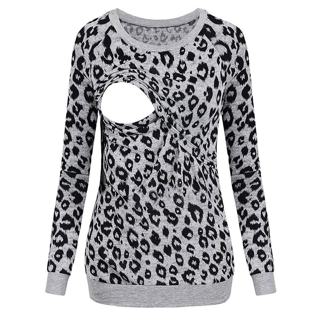 Women Pregnant Blouse Long Sleeve Leopard Maternity Nursing Breastfeeding Top T-Shirt Blouse Casual Winter Blouse Shirt C850#(China)
