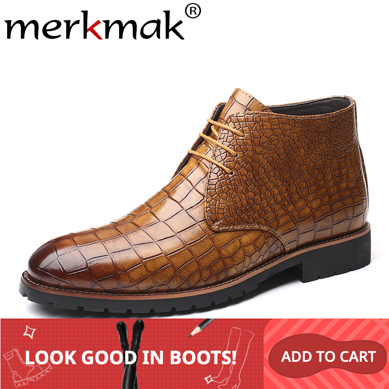 Merkmak Crocodile Pattern Leather Boots Men Shoes Lace-up Autumn Ankle Boots Classic Warm Boots Men's Big Size 48 47 Shoe Man