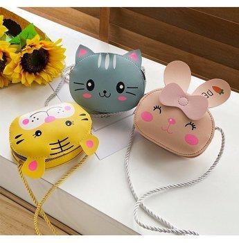 Children Cartoon Animal Shoulder Bag Plush Purse Messengers Bags Handbag Round Zipper Crossbody Bags Shoulder Bag cute shape