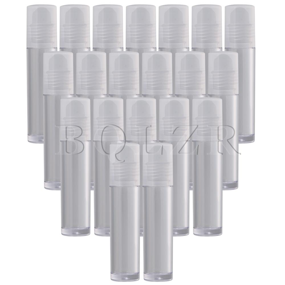 BQLZR 20Pcs 10ml Lip Gloss Balm Roll On Bottle With Frosted Glass Roller Ball